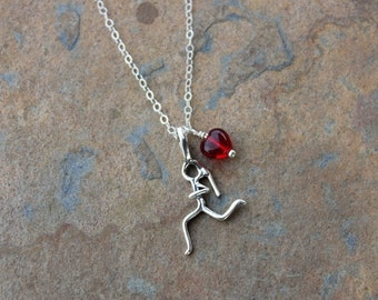 Runner Charm Necklace - sterling silver jogging girl with ponytail and little red heart on delicate sterling chain - free shipping USA