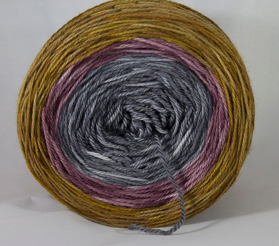 Hand Dyed Gradient Yarn, Sir Lancelot Colorway, 3-ply Supewash Merino Fingering Yarn