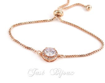 Wedding Bracelet Rose Gold plated Zirconia Bracelet Wedding Bracelet Bridesmaid Bracelet Wedding Jewelry Bridal Bracelet Bridal Jewelry Gift