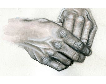 "Gray Hands 11"" by 8.5"" Print"