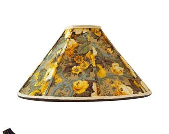 Large Lamp Shades: Golden Lamp Shade with Floral Fabric, Yellow Lamp Shades, Floral Lamp Shades, Unique Lamp Shades