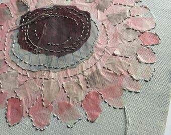 Pink flower on small canvas. Original Hand painted & stitching on paper