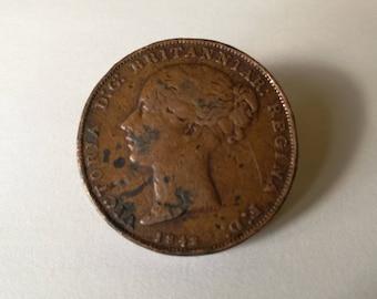 Antique 1842 Queen Victoria Gibraltar Copper Coin - 2 Quarts. 1842 Two Quarts Gibraltar Copper Coin. Antique Gibraltar Copper Coin - 1842.