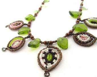Fiver Friday Necklace Offer, Green, Handmade Glass Bead Jewellery