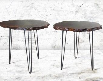 Claro Walnut Burl Round Side Tables