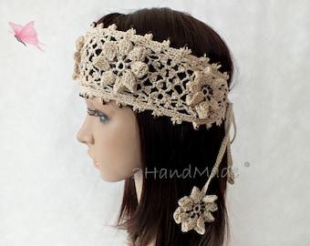 Beige Handmade OOAK Irish Lace 3D Crochet Headband Dreadlock Head Wrap Boho Wooden Beaded Women Ivory Wedding Bridal Cotton Hair Snood
