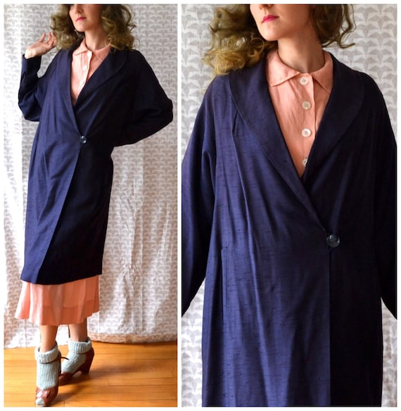 Hidden Bliss Coat | vintage 30's navy blue swing coat | pink lining