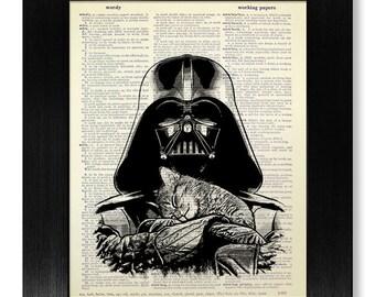 Star Wars HOUSEWARMING Gift, Tabby CAT Wall Art Print, Lovely Home Idea, Star Wars DECOR, Cute Animal Poster, Funny Original Kids Artwork