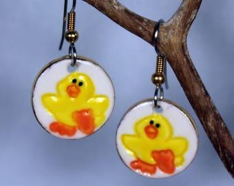 Yellow Duck Earrings Handmade Porcelain Ceramic Dangle Earrings