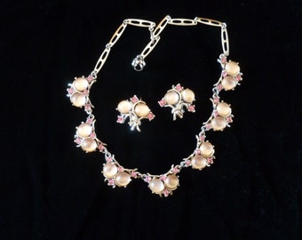 Vintage Demi Parure, Pink Moonstone and Rhinestone Necklace Clip On Earrings, Moonglow Rhinestone Necklace, Vintage Jewellery, Gift for Her