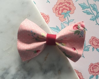 Pink Strawberries Girly Pet Bow Tie