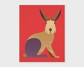 RABBIT, BUNNY, HARE Nursery Animal Prints. Kids Room Decor Wall Art, Retro Inspired Mid Century Flat Illustration, European Rabbit Poster