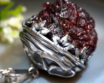 Rhodolite Necklace Pink Garnet Rough Crystal Pendant Sterling Silver Jewelry Izovella