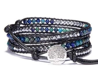 4MM Phoenix Beaded Wrap Bracelet Gemstone Leather Wrap Bracelet Leather And Gemstone Wrap Bracelet Triple Wrap Bracelet Boho Beaded Bracelet
