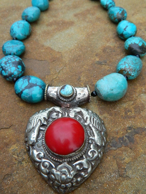 Genuine Turquoise and Genuine Sterling Tibetan Silver and Coral Pendant Statement Necklace