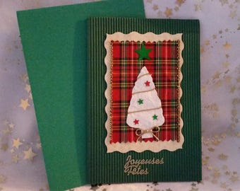 """Double card green corrugated and sheet and envelope handmade """"tree"""""""