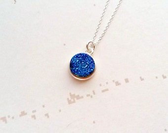 Druzy Necklace, Blue Druzy Pendant, Gemstone Necklace, Blue Necklace, Blue Gemstone, Gifts gifts under 25, Gifts for Her