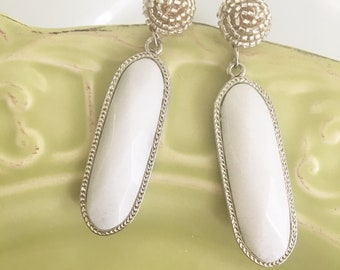 White Statement Stone Earrings