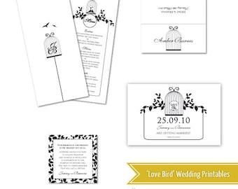 Collection de mariage imprimable de bricolage créateur - oiseaux d'amour