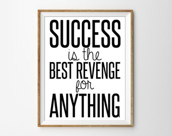 Success Quote Print, Minimal Office Print, Motivational Print, Inspirational Quote, Black and White Art, Minimal Quote Print, Typography Art