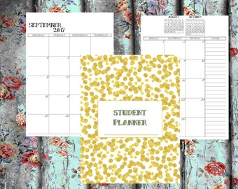 A5 Student Planner Personal Printable Planner Inserts  HALF Size Study Student Planner 2017-2018  Academic Planner College Student Planner