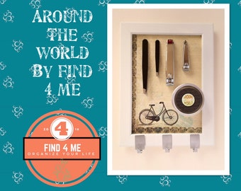 Round the world by bike - complete Set: 13x18cm, manicure, care - frame frame # #giftideas #organization #originaldesign support/display