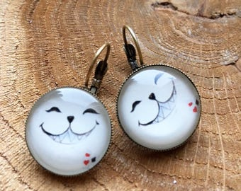 """Earrings """"The white cat from alice"""""""