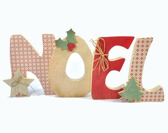 """""""NOEL"""" wood and fabric letters"""