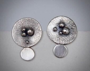 Oxidized Sterling Silver Disc Post Earrings