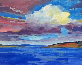 Puget Sound, Northwest Landscape, Original, Gouache Painting, Sky, Clouds, Water, Blue, Pink, Small 5x7, Water Media, Watercolor Paper