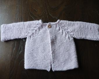 Luxury Hand Knitted Pale Pink Alpaca Silk Baby Cardigan/Jacket