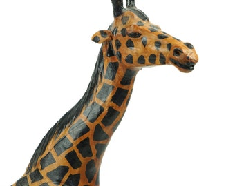 "Leather Giraffe 17.5"" Small African Africa Statue Hand Made Miniature Old Retro Figurine Animal Black Yellow Vintage"