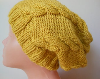 Hand Knit Slouchy Beanie Hat Acrylic Mustard Gold Color