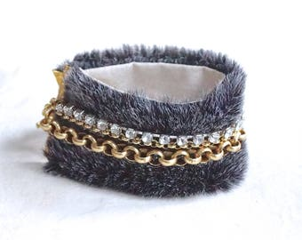 Faux fur cuff bracelet