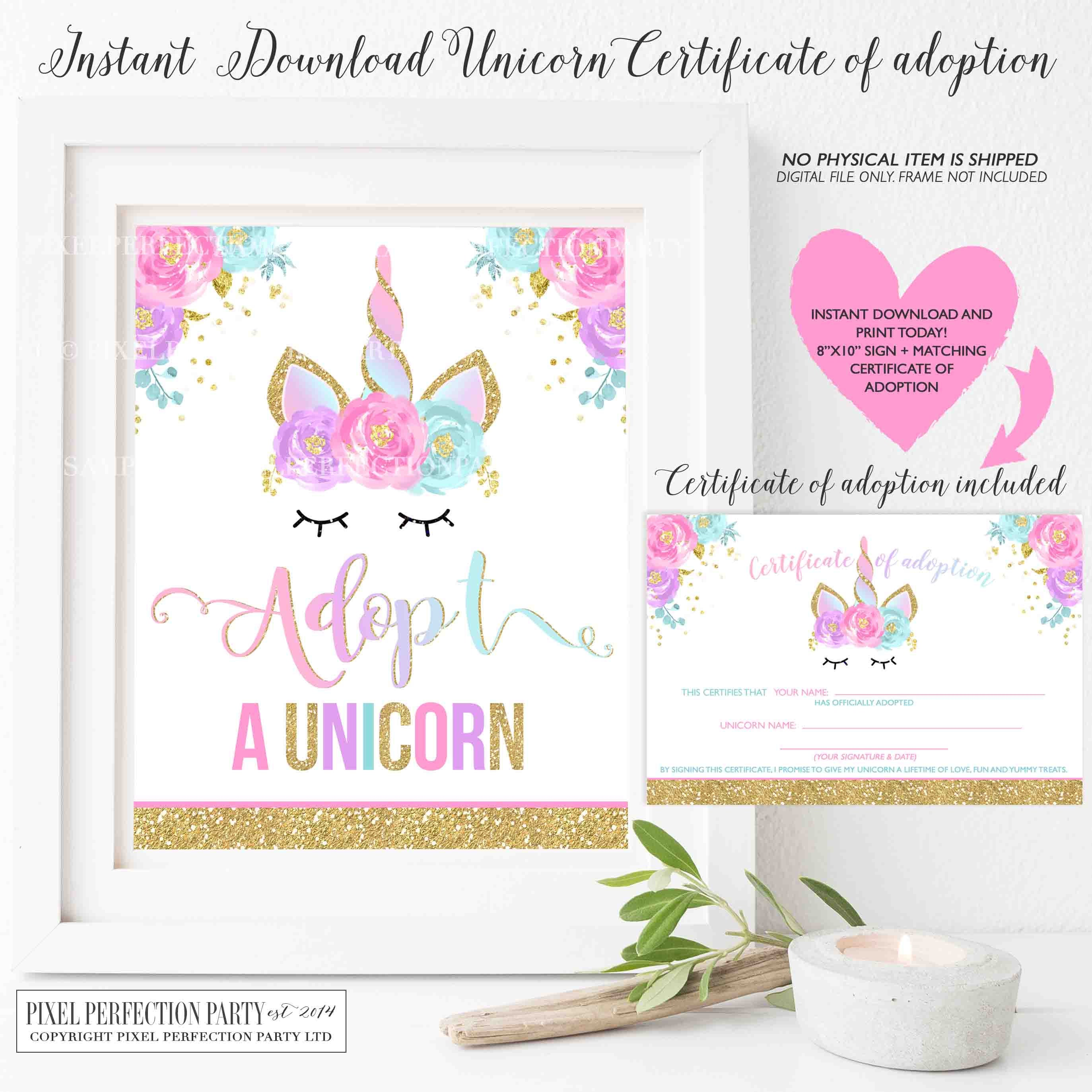 Unicorn Certificate Of Adoption Sign Matching Certificate Of
