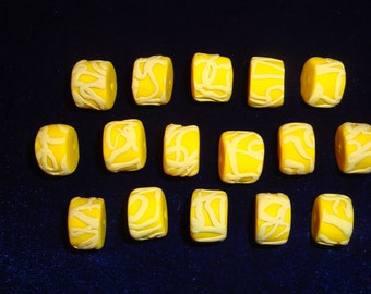 Lot of 16 Polymer Clay Beads, Bright Yellow with Pastel Yellow Swirls