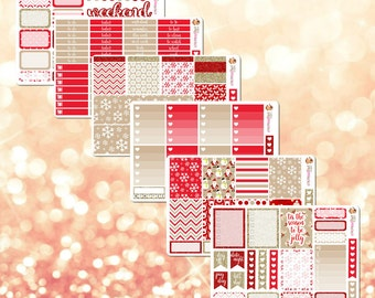 Cozy Winter Red & Tan Holiday / Christmas Theme Weekly Planner Sticker Kit - 6 pages, 186 stickers