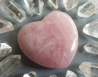 Gift for Her, Rose Quartz Crystal, Large Rose Quartz Heart, Healing Crystals and Stones, Rose Quartz Hearts