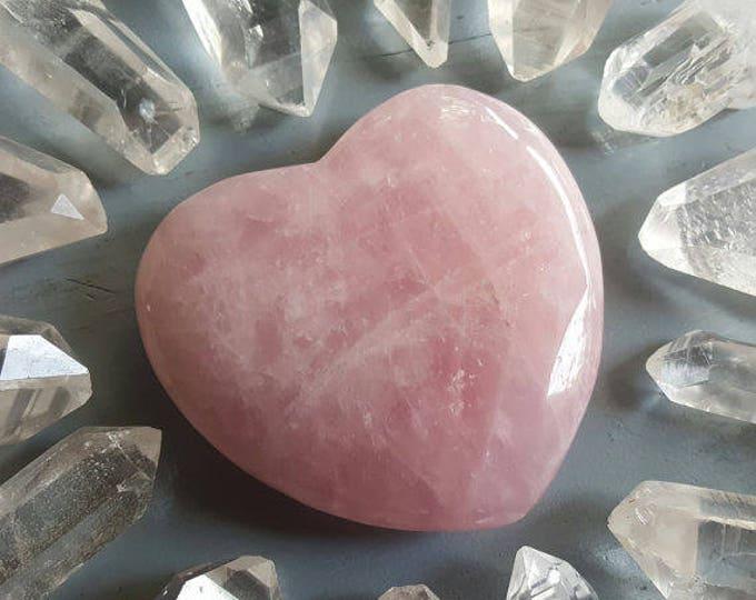 Rose Quartz Crystal, Large Rose Quartz Heart, Healing Crystals and Stones, Rose Quartz Hearts