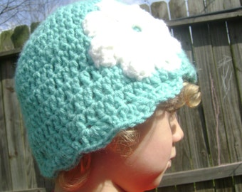 Crocheted Beanie with Crocheted Flower Accent FREE US SHIPPING