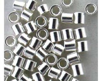 Sterling Silver-Crimp Tubes-1.1x1.1mm with 0.6mm HOLE (PKG/50)(585S-52)