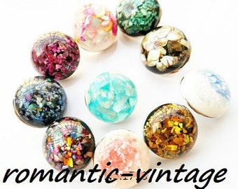 1 cabochon 18mm coloured snap button silver /nacre shell fragments