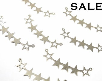 Rhodium Plated Assorted Star Connector Charms (7X) (V349) SALE - 25% off