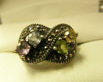 Birthstones & Marcasite Sterling Silver Ring- Size 7