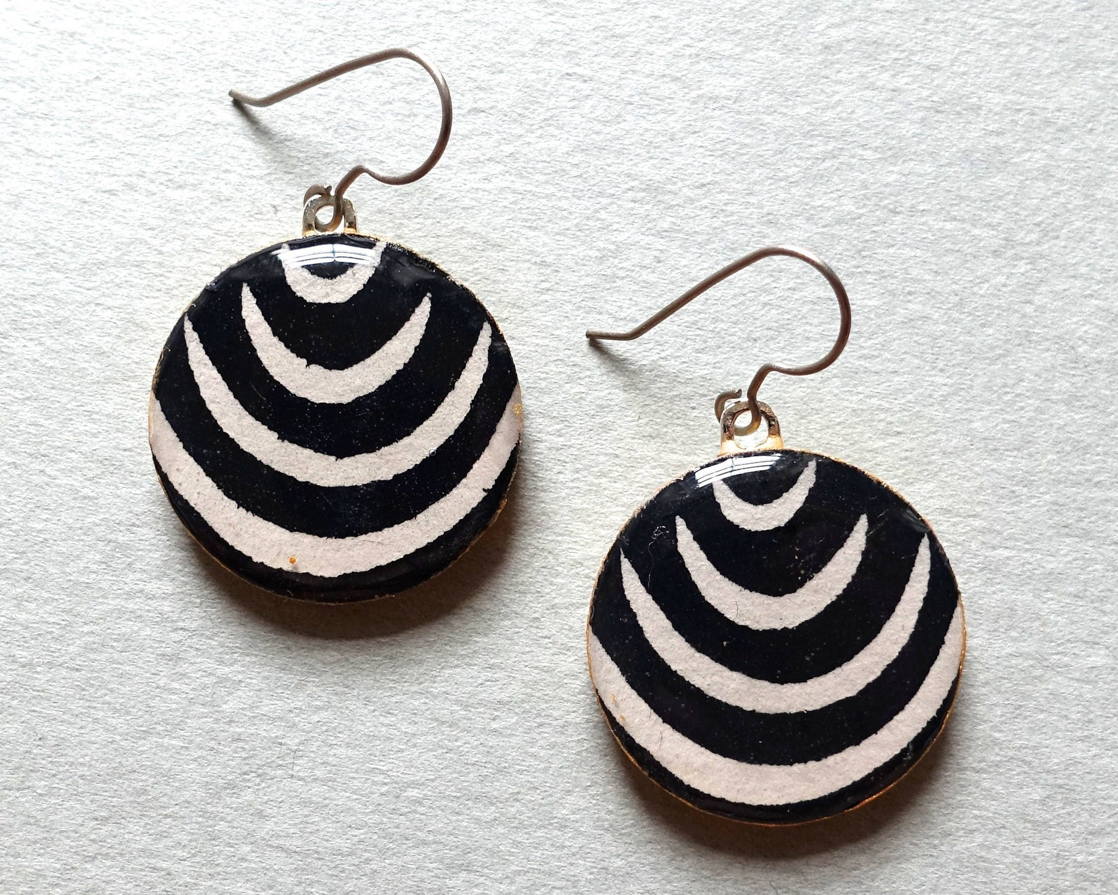 enamel earrings shop black butterfly white and silver with karikoo