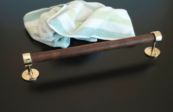 Polished Brass and Oiled Walnut Towel Bar