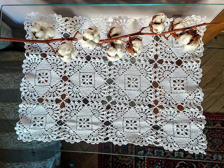 Großes Rechteck-Vintage-Stil häkeln Deckchen Schönheit