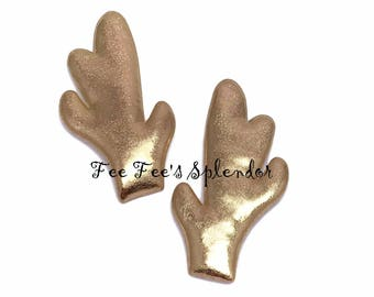 Padded Reindeer Antlers- Metallic antlers applique- DIY craft supply- Gold horns-1 pair