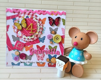 First birthday card, Handmade Card, personalised card, custom made, girl birthday card, colourful card, butterfly card, special occasion,