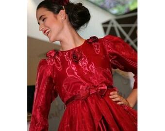 1960s Vintage red organza dress